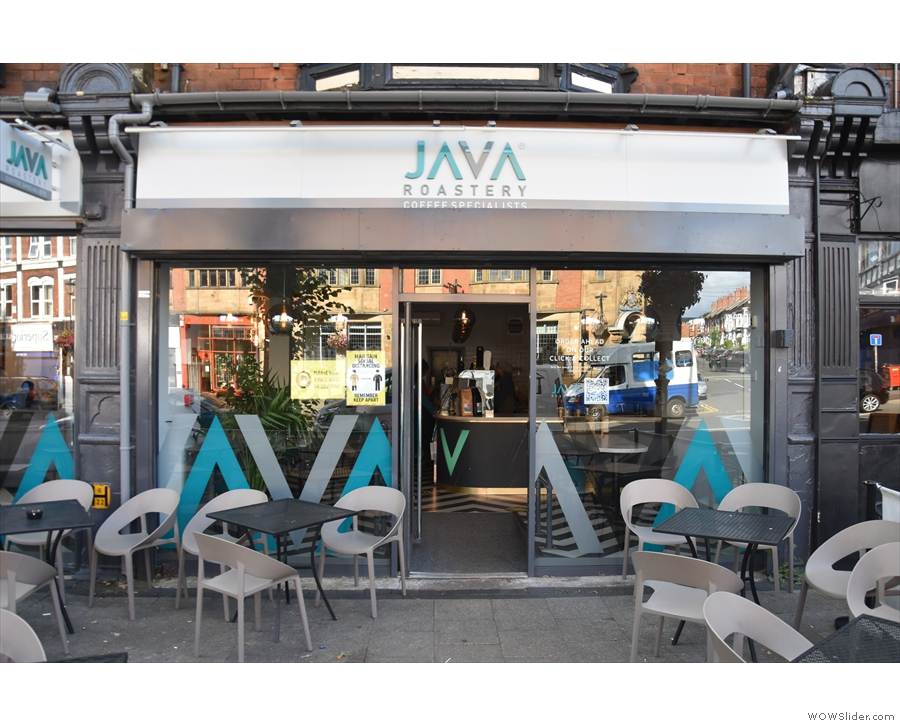 Java Roastery occupies a pair of units, with the door in the middle of the right-hand one.