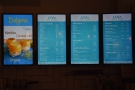 The menus, by the way, are on these very swish displays on the wall behind the counter.