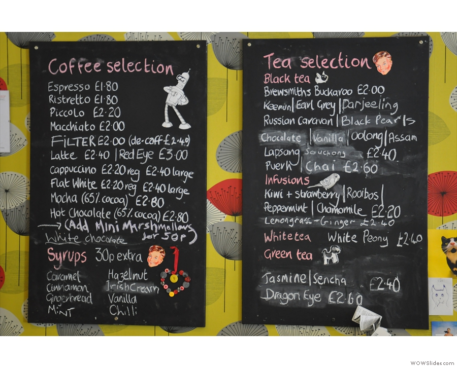 The coffee and tea menu.