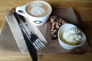 ... where Amanda had a flat white and an incrediibly chocolately brownie...