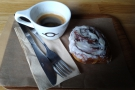 ... and I had an espresso and an awesome cinnamon roll.