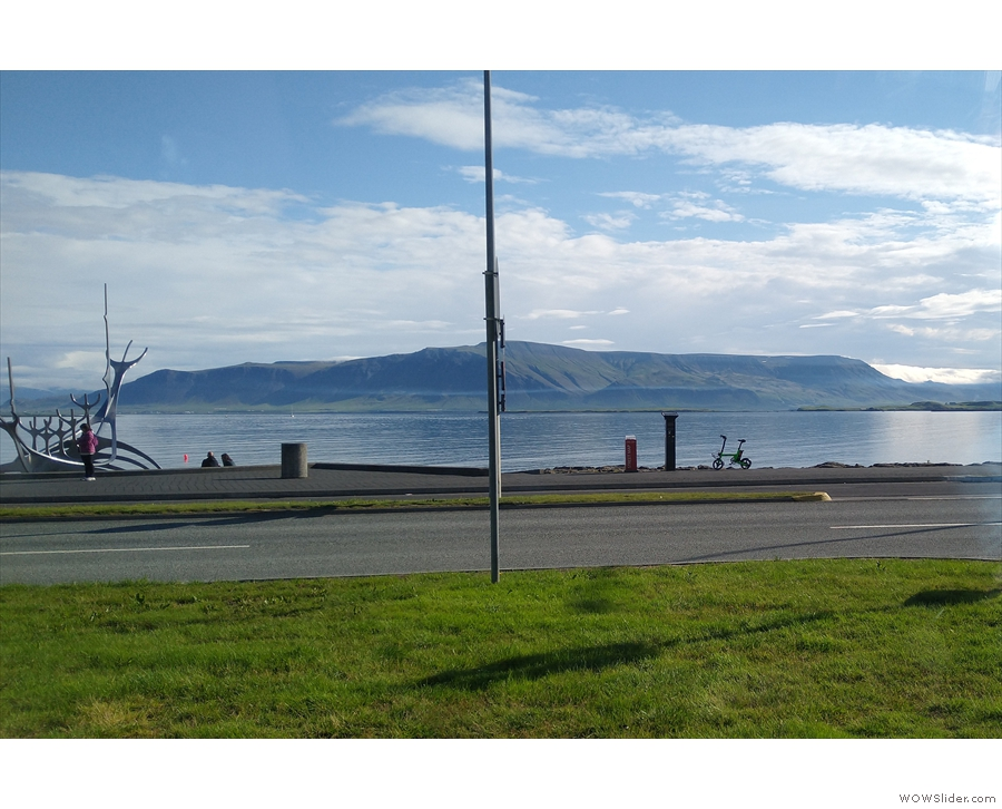 ... speeding out of Reykjavik. It was the first day we could see clearly across the bay!
