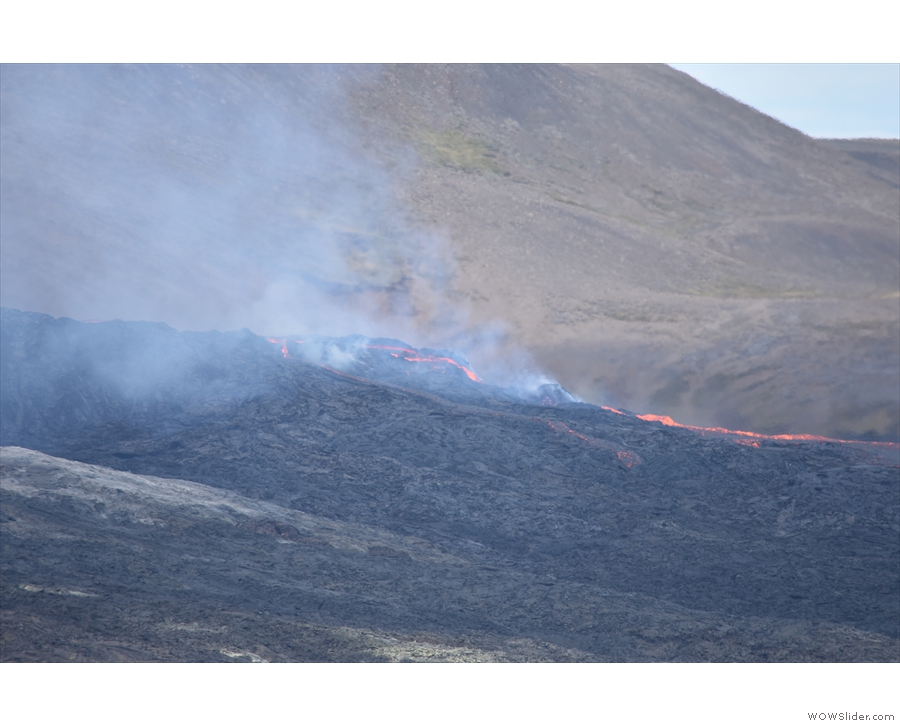 You can't see it here, but the lava was moving really quickly down the hill.