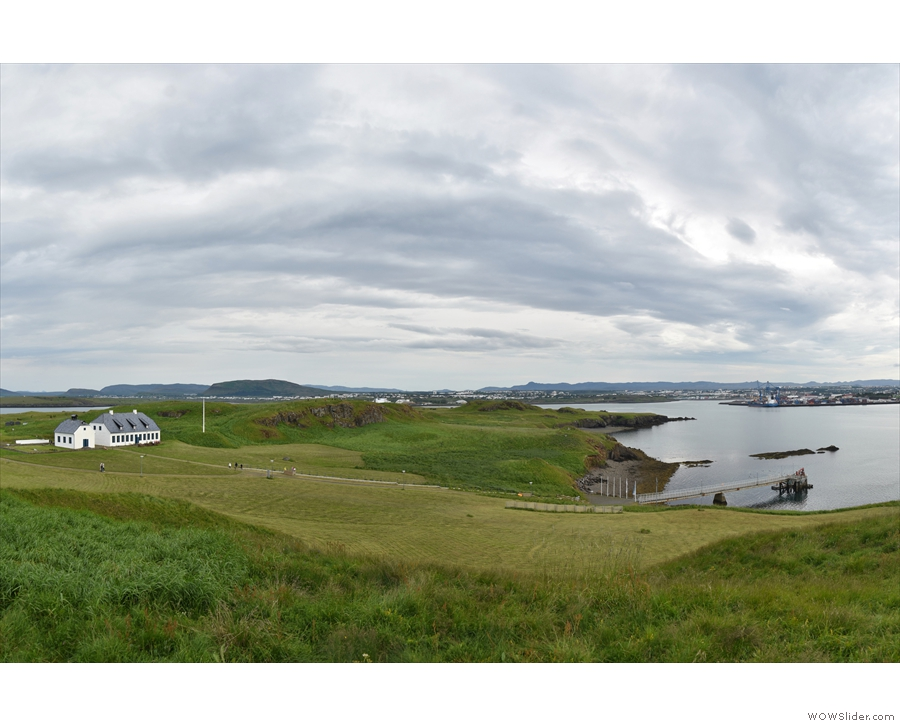 Then it was off to explore the island. We went north. Here's the view back to Viðey House.