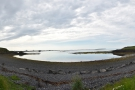 ... by a narrow isthmus. Here's the view from the isthmus looking back towards Reykjavik.