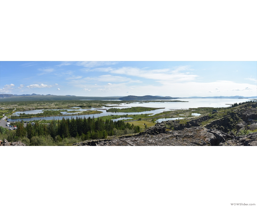 Before we go, here's a panoramic view (sans coffee) looking south over Þingvallavatn.