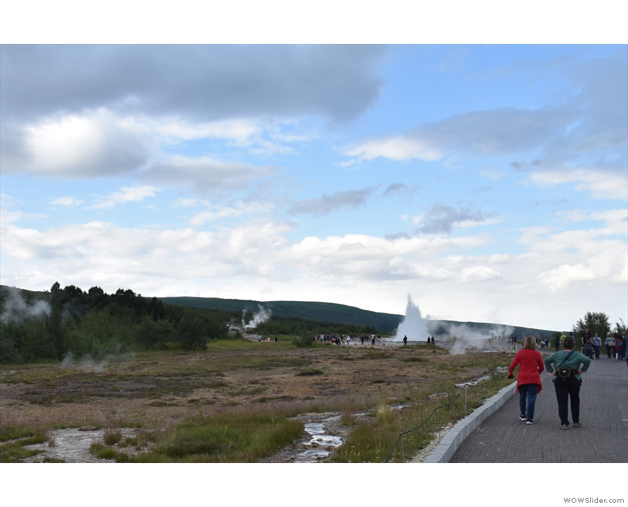 As we were making our way into the geothermal area, a large spout of water shot up...