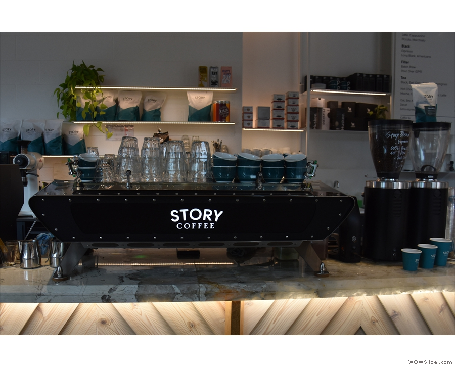 Pride of place goes to the Kees van der Westen Spirit espresso machine...