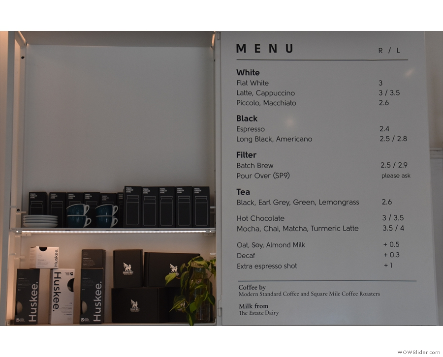 The coffee menu, meanwhile, is on the wall behind the cakes (for takeaway customers).