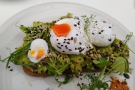 ... topped by two perfectly-poached eggs.