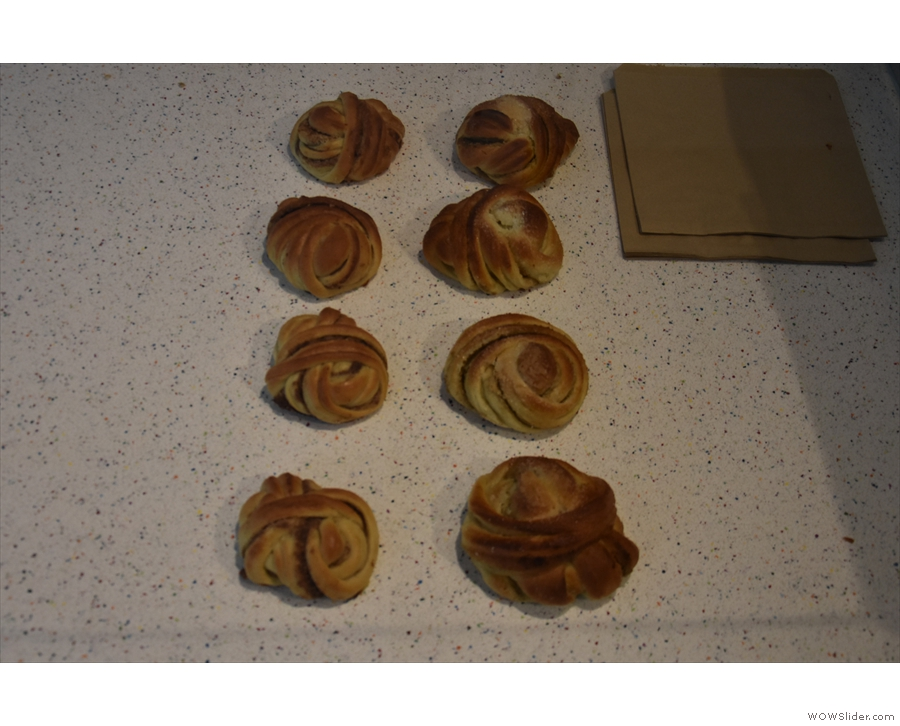 The pastries (much depleted at the end of the day) are in a built-in display case.