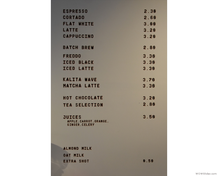 Returning to the left-hand wall behind the counter, here's the concise menu.