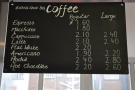 The coffee menu.