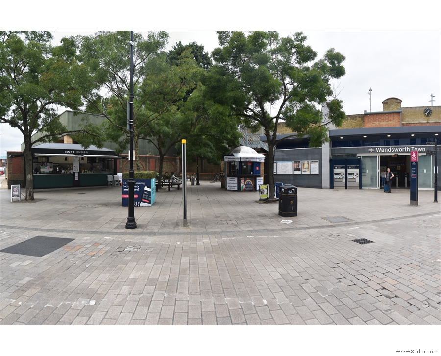Outside Wandsworth Town Station is a large, leafy space, seen here from Old York Road.