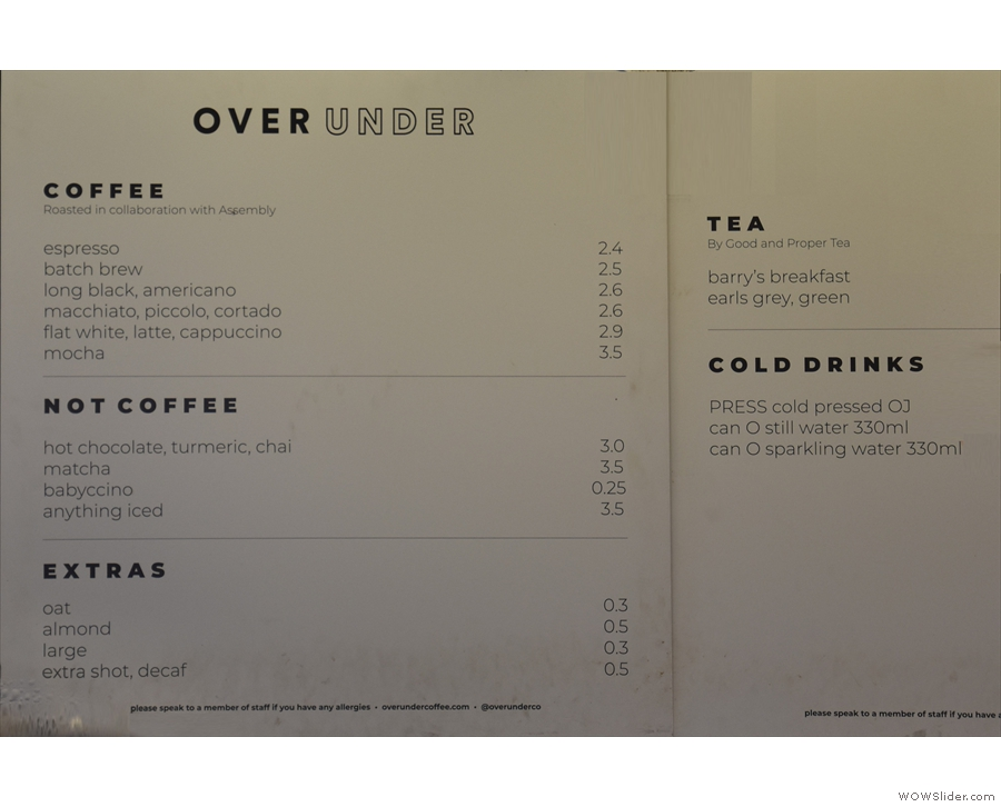 The drinks menu, meanwhile, is on the wall at the back.