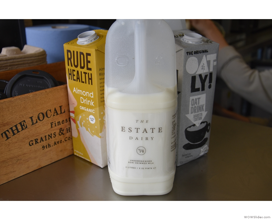 The milk is from Estate Daiy, with oat and almond non-dairy alternatives.