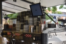 Shots are pulled on this three-group La Marzocco (the tablet is for app/delivery orders).