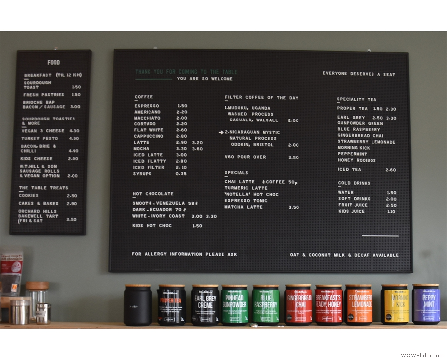 ... while now it looks much the same, only with the addition of a food menu to the left.