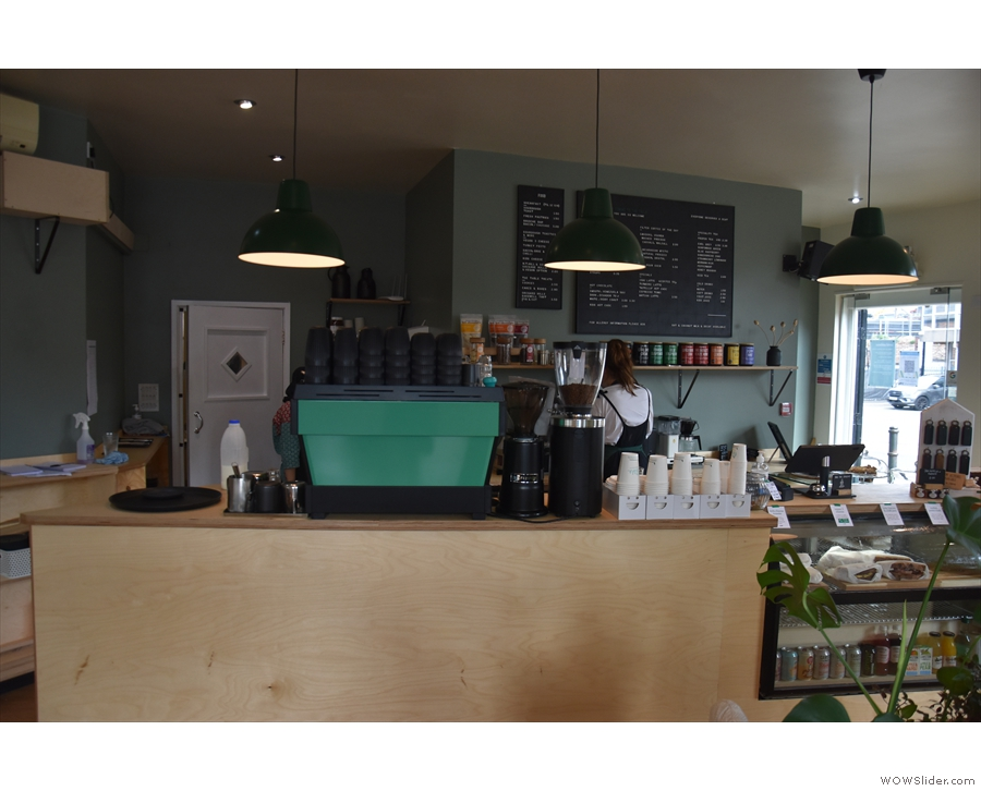 The counter is essentially the same though, till on the right, espresso machine on the left.