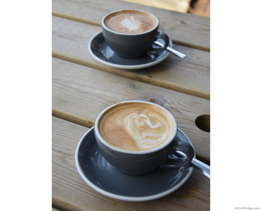 And there was coffee, of course, in the shape of a pair of flat whites.