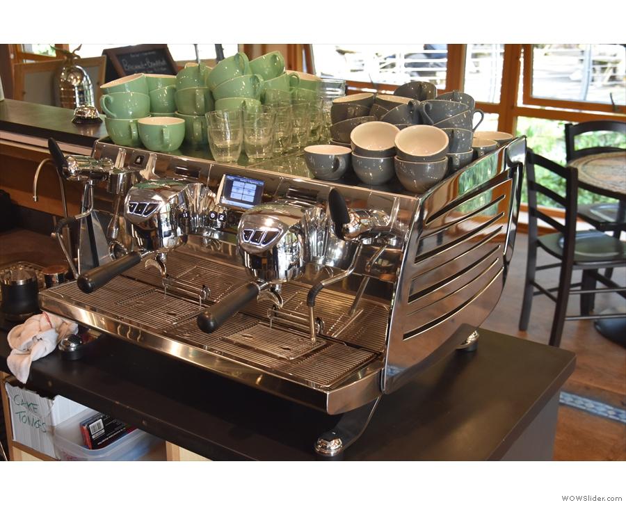 A behind the scenes shot of the Victoria Arduino Black Eagle espresso machine...