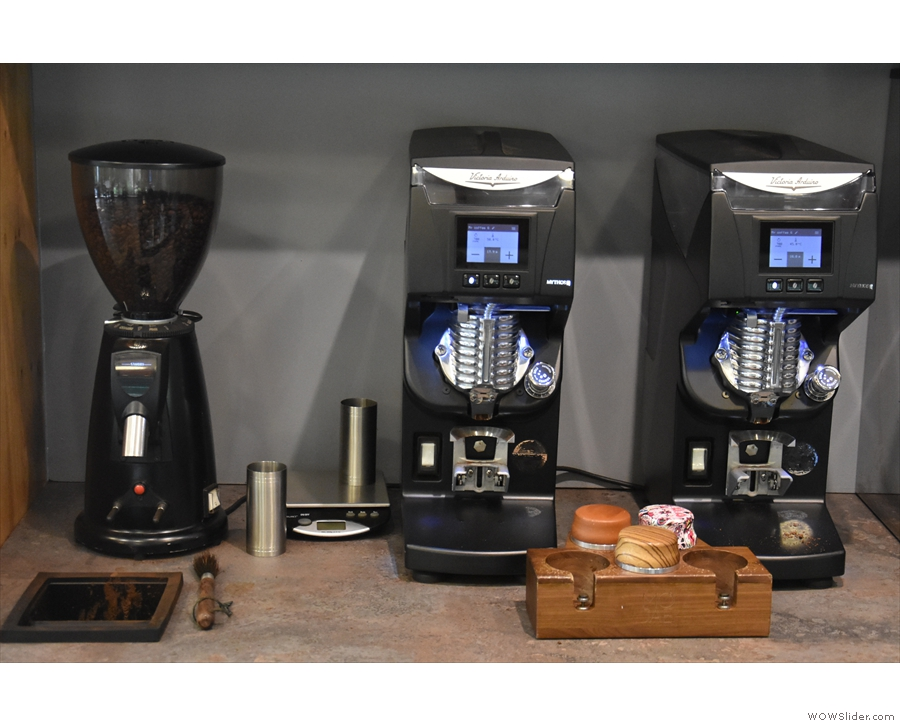 ... and its Victoria Arduino Mythos grinders, which the excellent staff are very proud of!