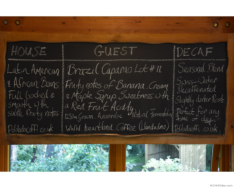 You'd also miss details of the house, guest & decaf espresso options (opposite the counter).