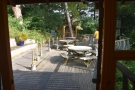 The top level of the decking, which is through this door to the left...