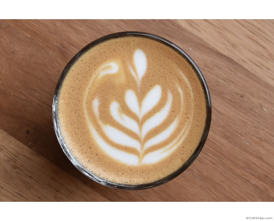 ... and came with some awesome latte art, particularly impressive given the lack of space!