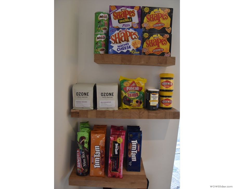 ... there's more (Aussie-themed) retail on this set of shelves to the right of the door.