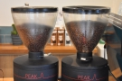 There are a pair of Mahlkönig Peak grinders, one for the house blend, the other for decaf.