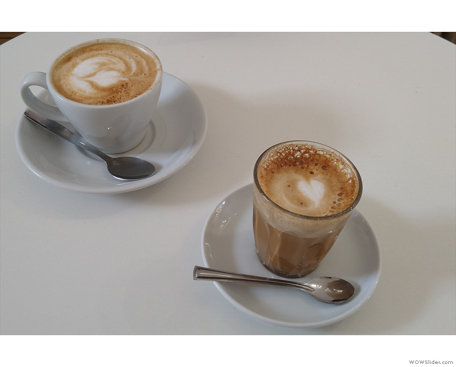 Amanda and I were there for breakfast, starting with a flat white and a cortado.