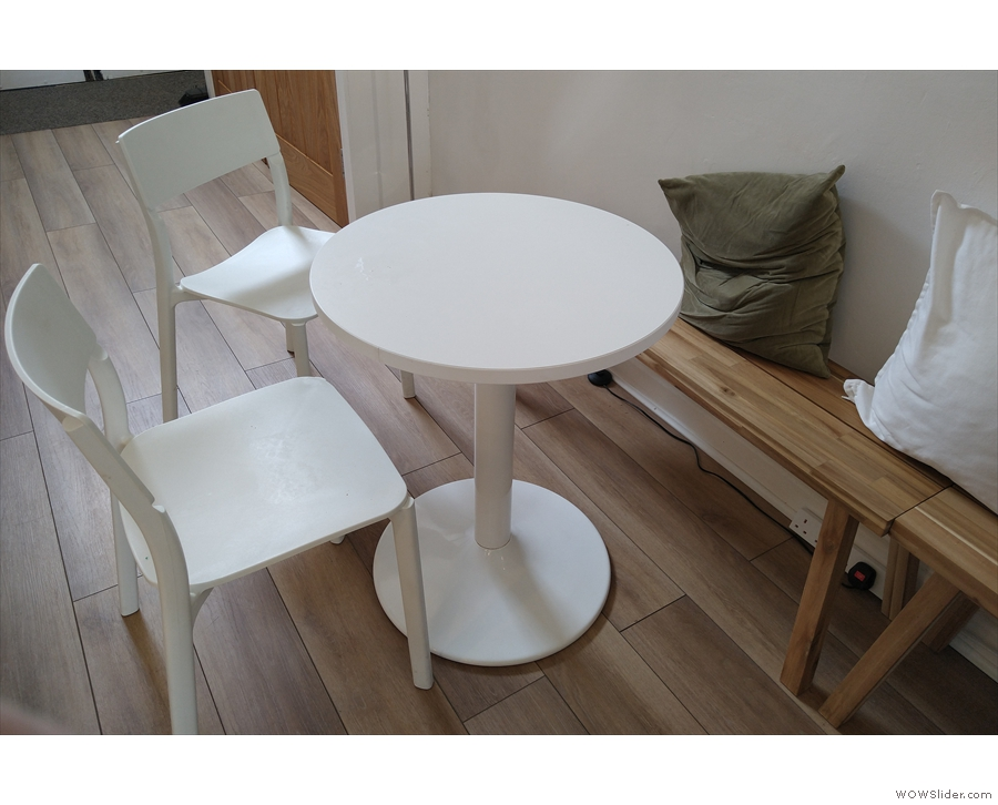 ... are two-person, while the first and the last (seen here) are three-person tables.