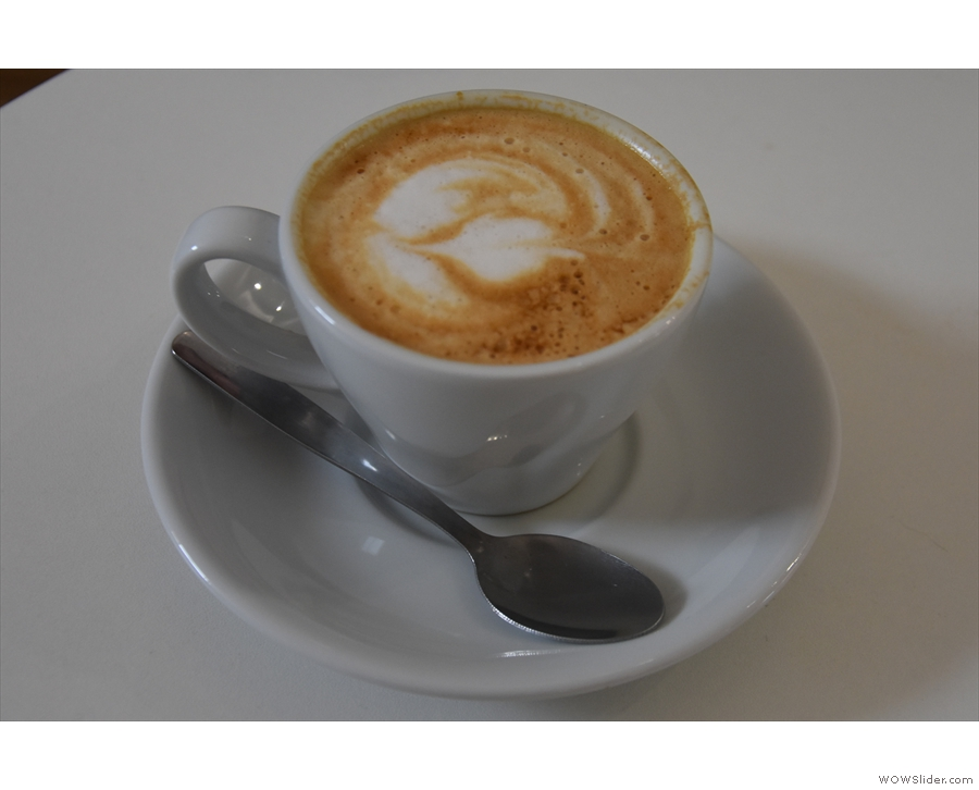 ... while Amanda's flat white was much smoother.
