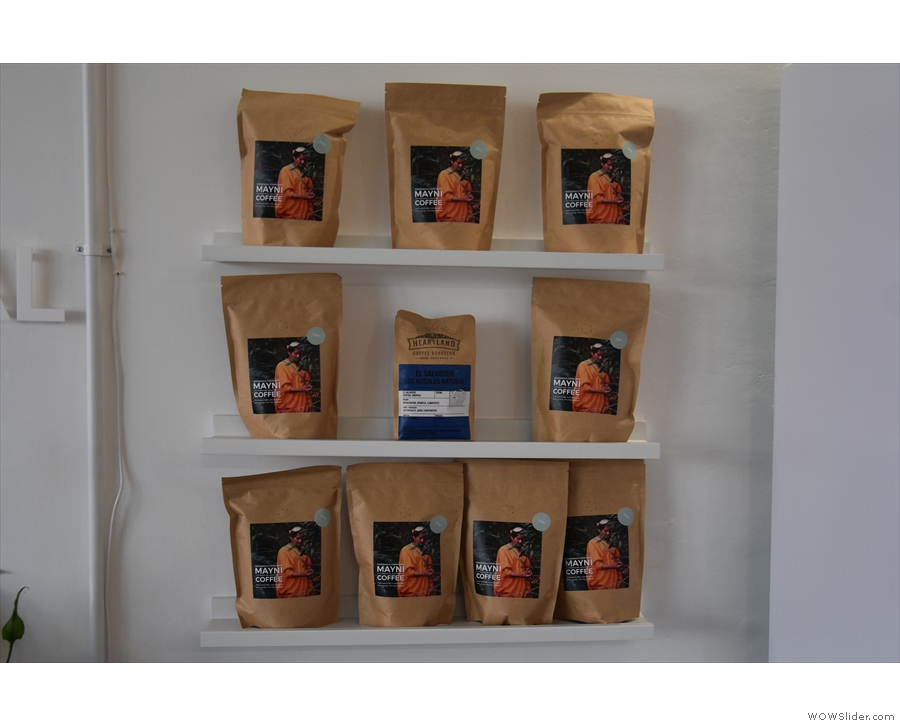 ... a small set of retail shelves with the Mayni coffee taking centre stage...