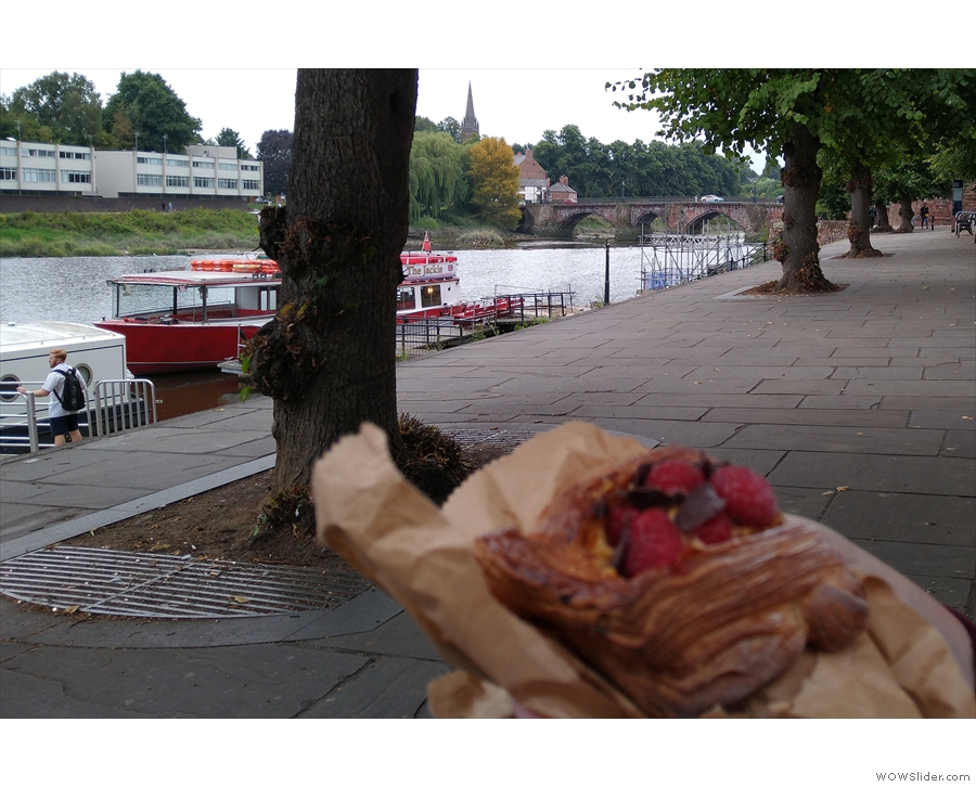 We also had pastries down by the River Dee, a raspberry Danish...