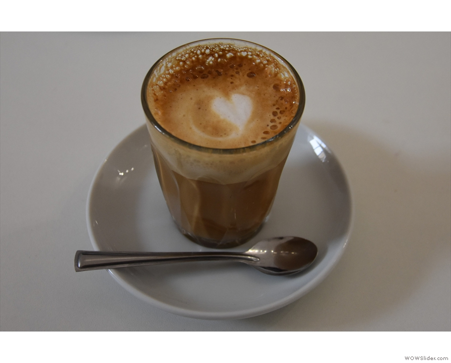 Our aim was to try the recently-opened Caffeina Coffi for breakfast. I had a cortado...