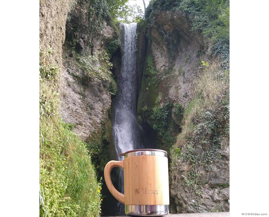 Next, my Global WAKEcup admired the wonderful Dyserth waterfall...
