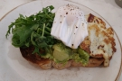 ... and breakfast: smashed avocado, halloumi and poached egg on toast for me...