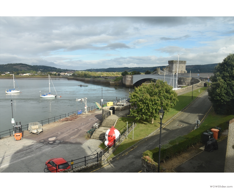 This is as far as the view goes from the second window, east to the bridge over the Conwy.