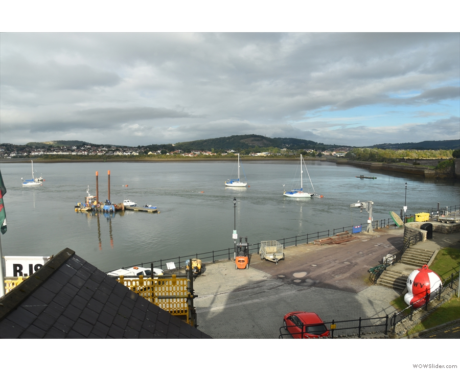 ... and here's the view from the other window, looking northeast across the Conwy estuary.
