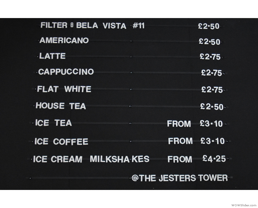There's another coffee/drinks menu on the wall at the back of the counter.