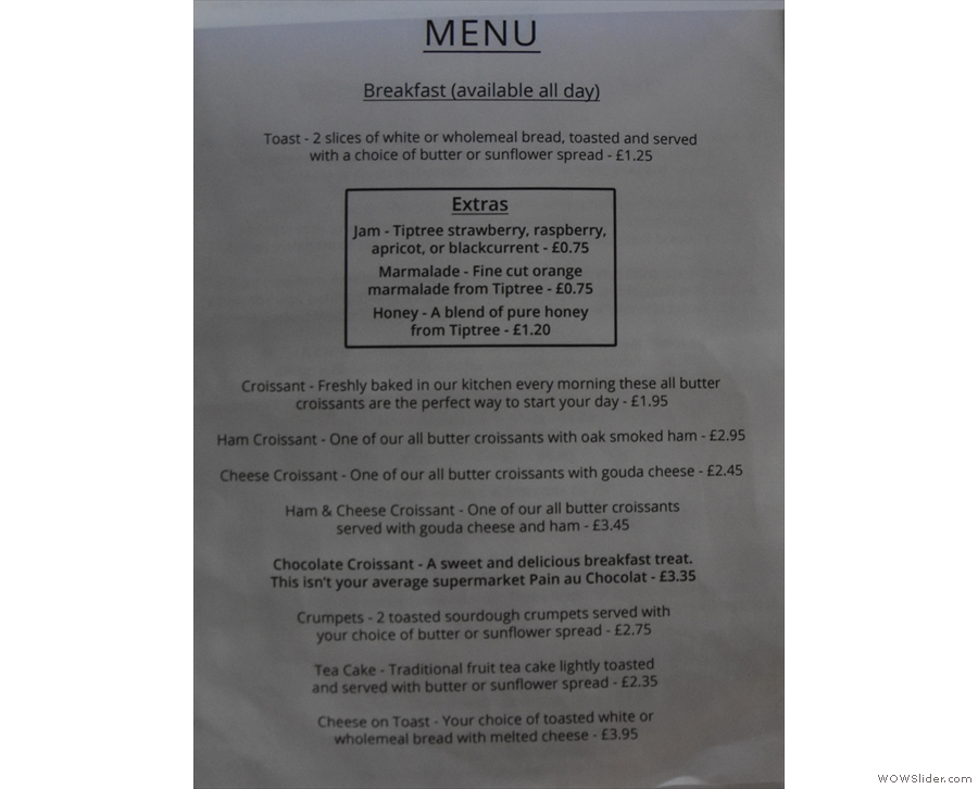 ... then comes the breakfast menu (available all day).