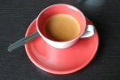 I'll leave you with my espresso in a neat red cup, made with Heartland's Landmark blend.
