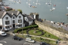 The view from the walls of Conwy Castle, looking out over the harbour, a view which...
