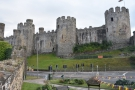 ... where you look along the town walls to the might of Conwy Castle.