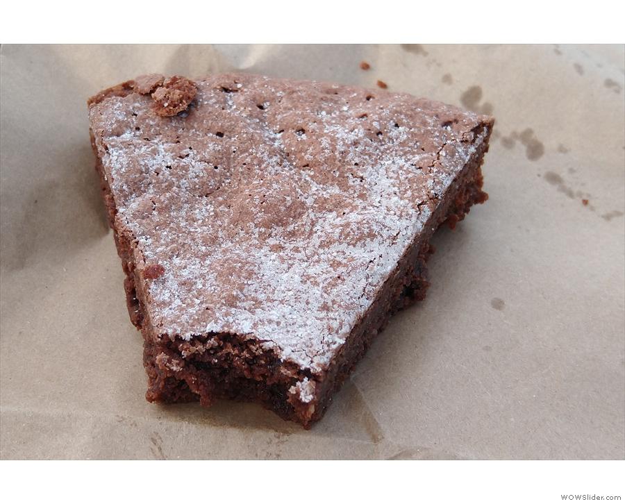 ... the last slice of the Klad Kakka (Swedish chocolate cake). Amanda bit the end off!