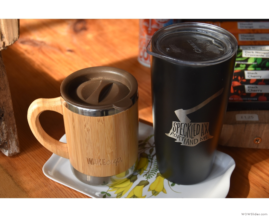 Our coffees, in my Global WAKEcup and Amanda's Speckled Ax cup. We also had...
