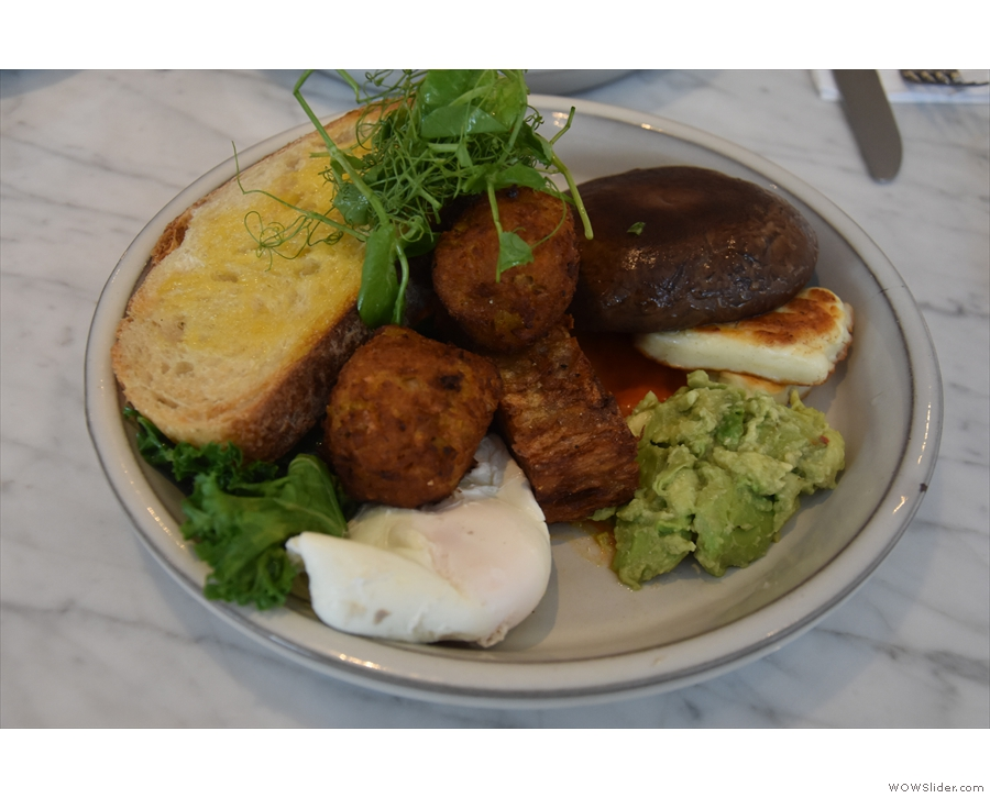 ... while I added a poached egg to mine (so not all vegan by the time I was done!).