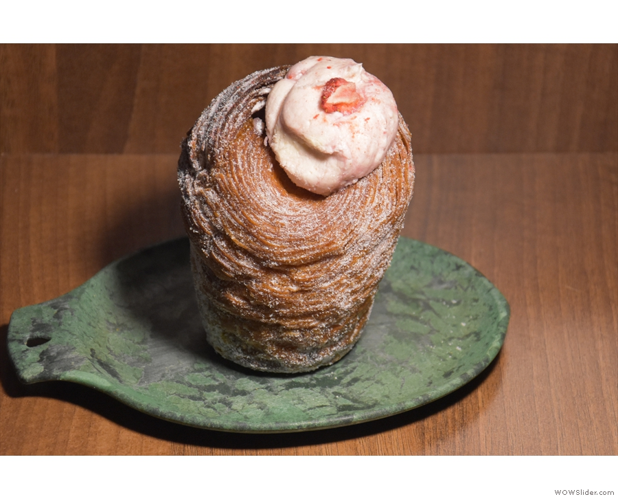Finally, we took a strawberries and cream cruffin...